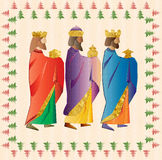 Three wise men or three kings. Nativity illustration Christmas c. Three kings or three wise men. Christmas nativity card illustration Stock Images