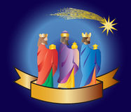 Three wise men or three kings. Nativity illustration. Three kings or three wise men with a star and a ribbon. Christmas nativity  illustration Stock Images