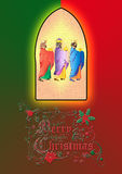 Three wise men or three kings. Nativity illustration. Royalty Free Stock Photo