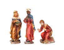 The three wise men. Ceramic figures isolated on white background Royalty Free Stock Images