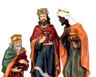 The three wise men. Ceramic figures isolated on white background stock photo
