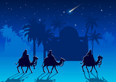 Three Wise Men are visiting Jesus Christ after His birth Royalty Free Stock Photo