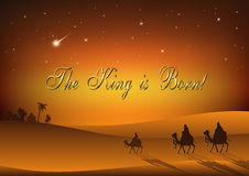 Three Wise Men are visiting Jesus Christ after His birth. Stylized Biblical Christmas etude: three Wise Men are visiting the new King of Jerusalem Jesus Christ Stock Photo