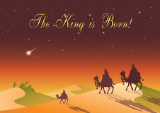 Three Wise Men are visiting Jesus Christ after His birth. Stylized Biblical Christmas etude: three Wise Men are visiting the new King of Jerusalem Jesus Christ Stock Photos