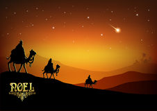 Three Wise Men are visiting Jesus Christ after His birth vector illustration