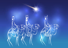 Three Wise Men are visiting Jesus Christ after His birth. Stylized Biblical Christmas illustration: three Wise Men are visiting the new King of Jerusalem Jesus Stock Photos