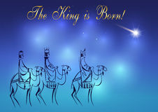 Three Wise Men are visiting Jesus Christ after His birth Stock Image