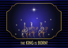 Three Wise Men are visiting Jesus Christ after His birth. Stylized Biblical Christmas illustration: three Wise Men are visiting the new King of Jerusalem Jesus Stock Photo