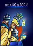 Three Wise Men are visiting Jesus Christ after His birth. Stylized Biblical Christmas illustration: three Wise Men are visiting the new King of Jerusalem Jesus Royalty Free Stock Photos