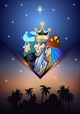 Three Wise Men are visiting Jesus Christ after His birth. Stylized Biblical Christmas illustration: three Wise Men are visiting the new King of Jerusalem Jesus Royalty Free Stock Photo