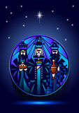 Three Wise Men are visiting Jesus Christ after His birth. Stylized Biblical Christmas illustration: three Wise Men are visiting the new King of Jerusalem Jesus Stock Image
