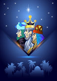 Three Wise Men are visiting Jesus Christ after His birth. Stylized Biblical Christmas illustration: three Wise Men are visiting the new King of Jerusalem Jesus Royalty Free Stock Images
