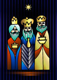 Three Wise Men are visiting Jesus Christ after His birth. Stylized Biblical Christmas illustration: three Wise Men are visiting the new King of Jerusalem Jesus Stock Photography