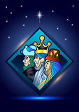 Three Wise Men are visiting Jesus Christ after His birth royalty free illustration