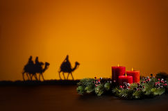 Three wise men. On the way to Jesus in Bethlehem royalty free stock photography