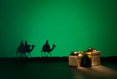 Three wise men. On the way to Jesus in Bethlehem Royalty Free Stock Images