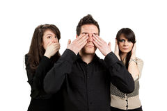 Three wise monkeys. See no evil, hear no evil, speak no evil concept, isolated on white stock photos