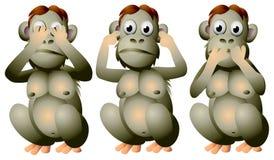 Three wise monkeys. See no evil, hear no evil, speak no evil, Japan, pictorial maxim. The three monkeys are Mizaru, covering his eyes, Kikazaru, covering his Royalty Free Stock Image