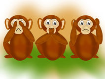 The three wise monkeys. Illustration of the Japanese three wise monkeys emboding the principle to see no evil, hear no evil, speak no evil Stock Photo