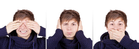 Three Wise Monkeys. Teenager shows three wise monkeys concept royalty free stock photos