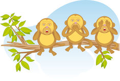 Three wise monkeys on a branch. Three wise monkeys ( a pictorial of the concept: see no evil, hear no evil, speak no evil) sitting on a tree branch Stock Image