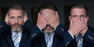 Three wise monkeys- businessman Stock Photography
