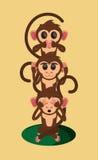 Three wise monkeys cartoon. Flat design three wise monkeys jungle monkey cartoon vector illustration Royalty Free Stock Photos