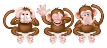 Three Wise Monkeys. The three wise monkeys, hear no evil, see no evil, speak no evil Royalty Free Stock Image