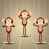 The three wise monkeys. An illustration of The three wise monkeys Stock Photos