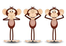 The three wise monkeys. An illustration of The three wise monkeys Royalty Free Stock Photography