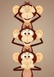 The three wise monkeys. Illustration of The three wise monkeys Stock Image