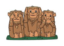 Three wise monkeys. mystic apes. See no evil, hear no evil, speak no evil. Vector character illustration, isolated on royalty free illustration