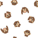 Three wise monkeys seamless pattern. Animal vector  on white backgroud Stock Photography