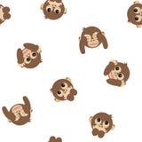 Three wise monkeys seamless pattern Stock Photography