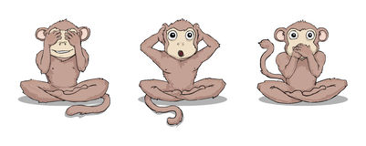 Three wise monkeys. See no evil, hear no evil, speak no evil Stock Photography