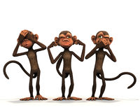 The three wise monkeys. Royalty Free Stock Photo