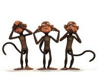 The three wise monkeys. The three wise monkeys on white background Royalty Free Stock Photo