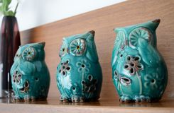 Three Wise Owls Statuettes Royalty Free Stock Photos