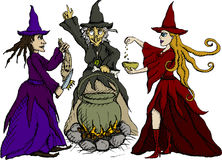 Three witches. Vector illustration of three witches Royalty Free Stock Photos