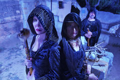 Three Witches in Black royalty free stock image