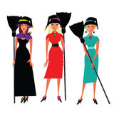 Three witches characters Royalty Free Stock Photo