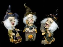 Three witches, halloween. royalty free stock image