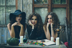 Three witches at the table. Three witches are sitting at a table on the eve of Halloween Stock Image