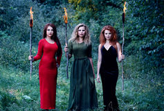 Three witches with with torches Stock Photo