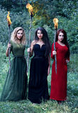 Three witches with with torches Royalty Free Stock Images