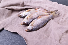 Three withered roach fish on the gray napkin Stock Image