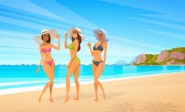 Three Woman In Bikini On Beach, Sexy Girls Wear Hat On Summer Sea Vacation Stock Photo