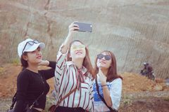 Three Woman Doing Some Selfie stock images