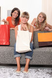 Three woman holding shopping bags Royalty Free Stock Photography