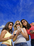 Three woman playing stock photography
